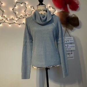 Blue/Grey cowl top Say What sweater